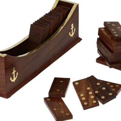 Crafts,man Dominoes Set Boat Tray Unique Handcrafted Toys And Board Game