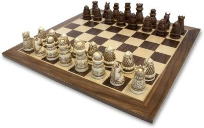 WE Games Medieval Chess Set Polystone Pieces With Distressed Wooden Board Game