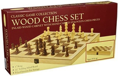 John N. Hansen Classic Wood Folding Chess Set Board Game