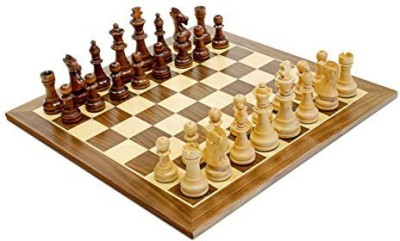 WE Games Traditional Staunton Wood Chess Set With Distressed Wooden Board Game