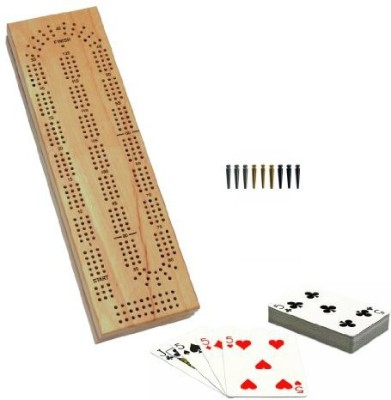 WE Games Cabinet Cribbage Set Solid Wood Continuous 3 Track Board Game