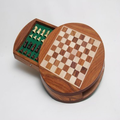 Best chess Round wooden Magnetic chess Board Game