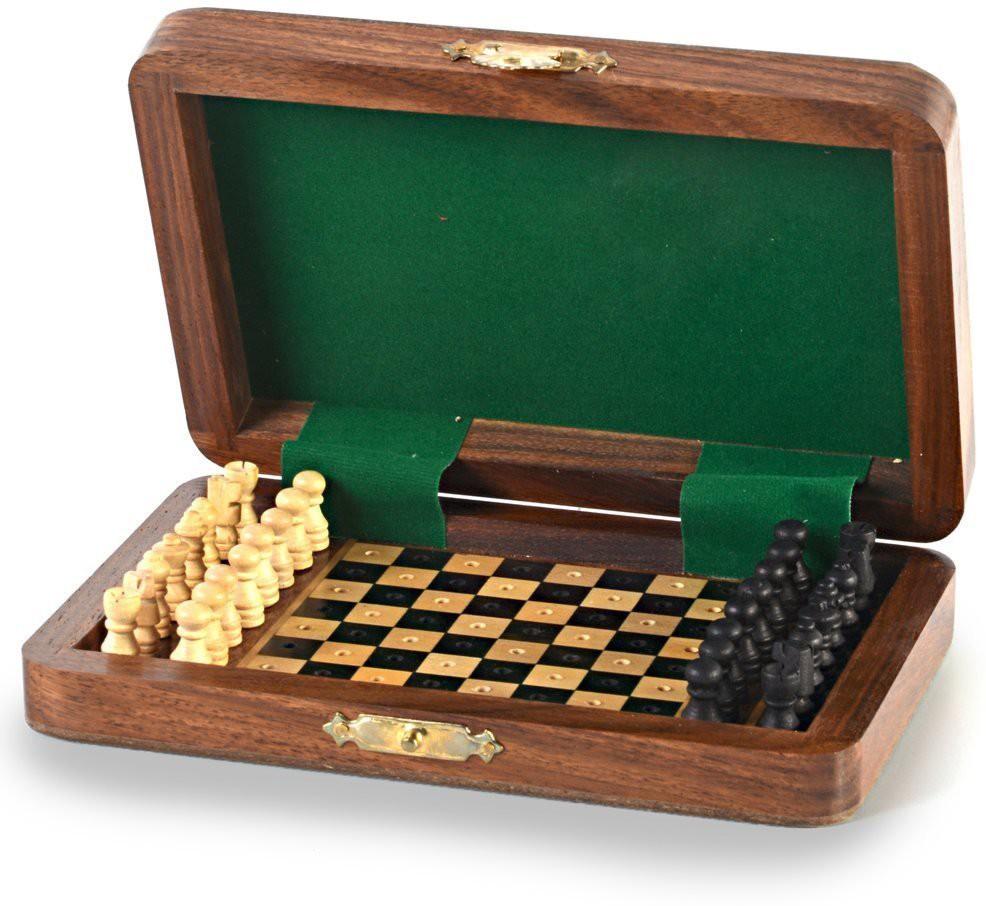 Kiran Udyog Travellers Mini Chess Board Wooden Handicraft -114 1 inch Chess Board