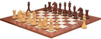 Chessbazaar Staunton Series Set & Red Ash Burl Maple Hi Gloss Finish 4.8 inch Chess Board