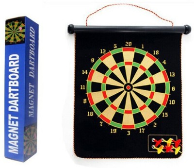 Divinext Magnetic Magnet Reversible Dart Board Two-Sides w/ 6 Dart 15 cm Dart Board(Multicolor)