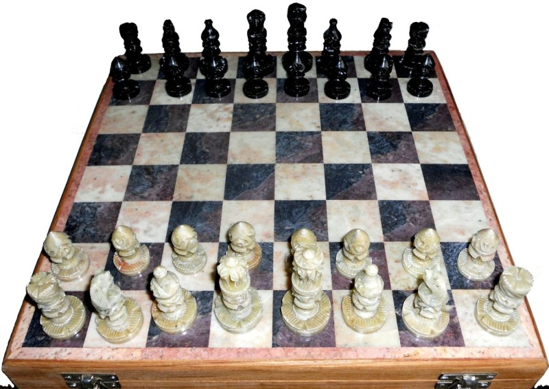 Stonkraft Handcrafted Stone Inlaid with Stone Carved Coins, Pieces 12 inch Chess Board(Multicolor)