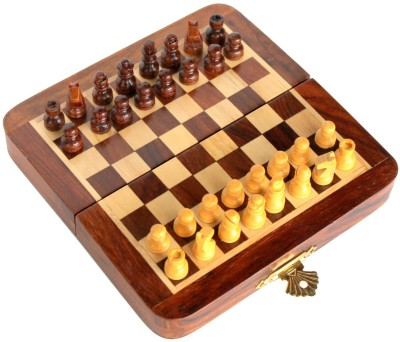 Stonkraft 7 inch Collectible Wooden Folding Chess Set, Wooden Magnetic Pieces Board Game