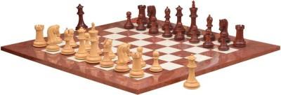 Chessbazaar Caballus Staunton Series Set & Red Ash Burl Maple Hi Gloss Finish 4.5 inch Chess Board