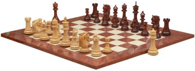 Chessbazaar French Warrior Luxury Set & Red Ash Burl and Maple 4.9 inch Chess Board