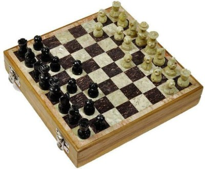 Radhey Shatranj Of White And Black Marble Big And Fine Works In 12 inch Chess Board
