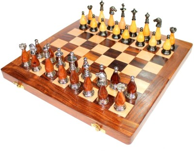 Stonkraft Collectible Wooden Folding Chess Game Board Set, Brass Staunton Figure Pieces Board Game
