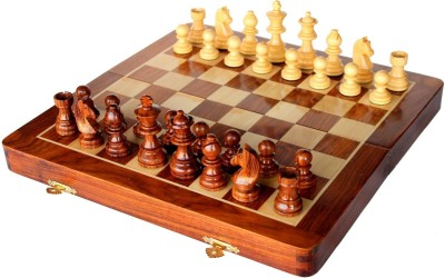 Stonkraft 10 inch Collectible Wooden Folding Medium Chess Set, Wooden Magnetic Crafted Pieces Board Game