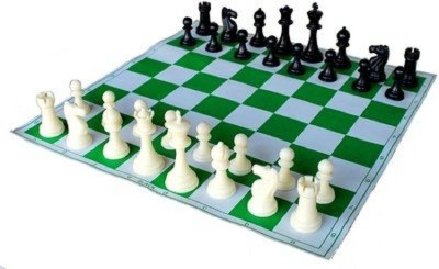 Playking Tournament Vinyl Foldable Chess Set With Plastic Staunton Pieces & Bag 17 inch Chess Board