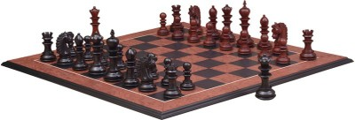 Chessbazaar Hurricane Luxury Series Set & Black Anigre Red Ash Burl with Moulded edges 4.7 inch Chess Board