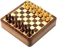 Anshul Fashion Handcrafted Stone Inlay Chess Game Board Set and Stone Carved Pieces Board Game 2 inch Chess Board(Brown)