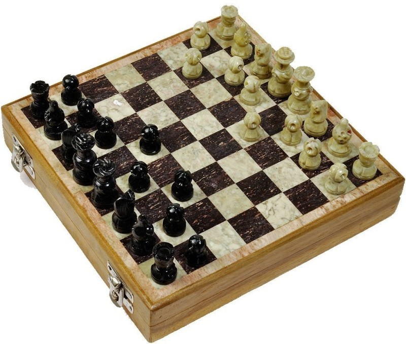 Artist Haat Masterfully Handcrafted With Makrana Marble ( 14*14 Inches) 2 inch Chess Board(Black, Beige)