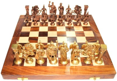 StonKraft Collectible Wooden Folding Game Board, Brass Roman Figure Pieces 14 inch Chess Board