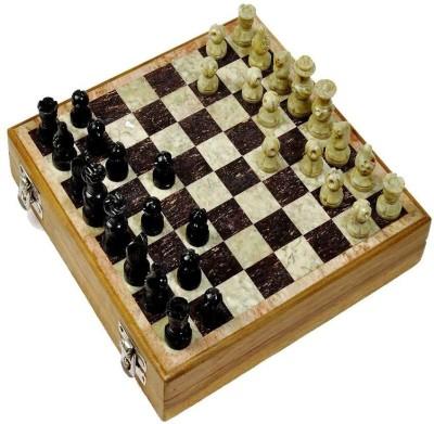 Radhey 20 Cm Of Shatranj Of Pure Makrana Marble With Stone Work 8 inch Chess Board