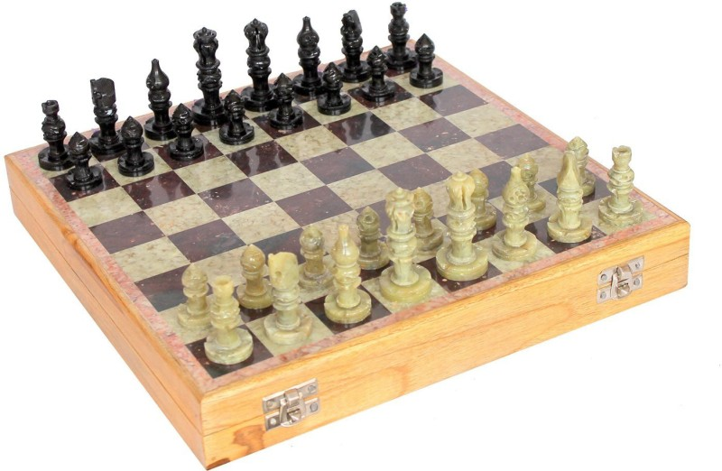 Kaushal Creation White marble Makrana 12 inch Chess Board(Brown, White)