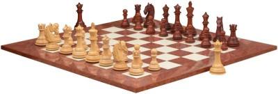Chessbazaar Columbian Staunton Series Set & Red Ash Burl Maple Hi Gloss Finish 4.5 inch Chess Board