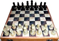 Anshul Fashion Real Makrana Handicraft Chess 8 inch Chess Board(Brown)