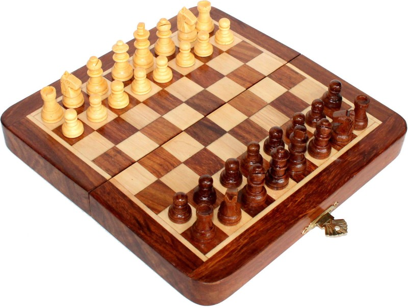 Stonkraft Collectible Wooden Folding Game Board, Wooden Magnetic Crafted Pieces 12 inch Chess Board(Multicolor)