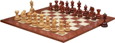 Chessbazaar Indian Chetak II Customized Staunton Set & Red Ash Burl Maple 4.2 inch Chess Board