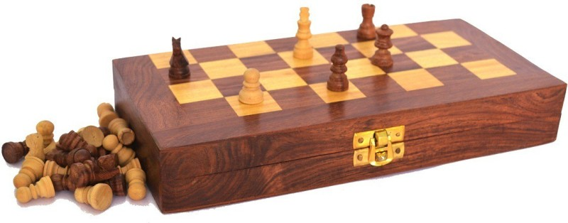 Hanwood Small 6 inch Chess Board(Brown, Yellow)