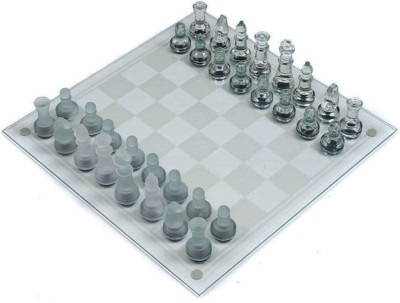 Emob Frosted And Clear Glass Pieces 20 cm Chess Board