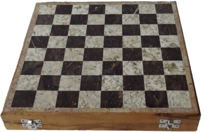 Radhey Shatranj Of White And Black Marble On Uppers Layer 10 inch Chess Board