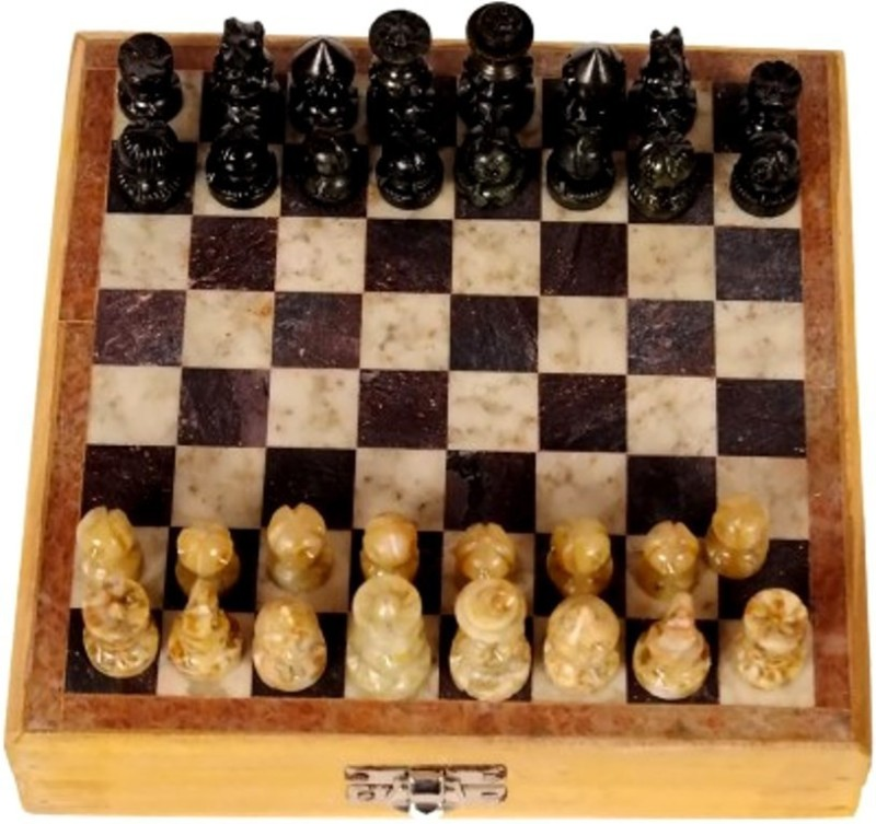 Anshul Fashion Real Makrana Marble Handicraft Game 10 inch Chess Board(Brown)