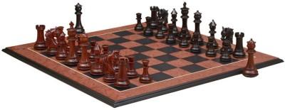 Chessbazaar French Warrior Luxury Set & Black Anigre Red Ash Burl 4.9 inch Chess Board