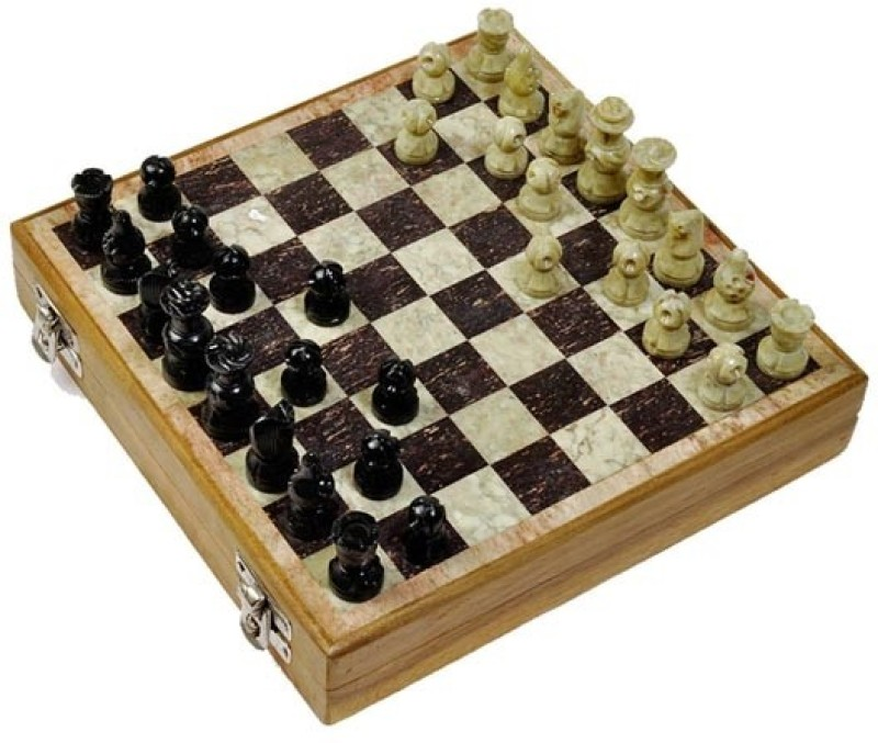 Artist Haat Masterfully Handcrafted With Makrana Marble ( 10*10 Inches) 2 inch Chess Board(Black, Beige)