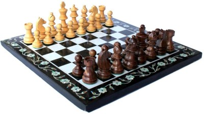 Stonkraft Collectible Marble Pietra Dura Chess Set, Wood Carved Piece Board Game