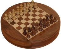 Chessbazzar Travel Series Round Magnetic Fitted Chess Chess Board(Off White, Brown)