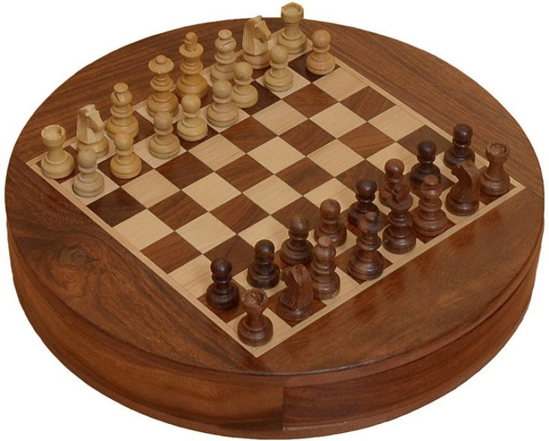 Chessbazzar Travel Series Round Magnetic Chess Chess Board(Off White, Brown)