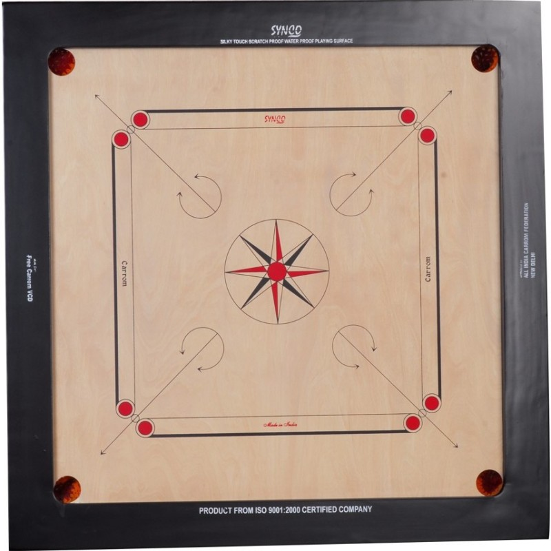 Synco Champion Tournament 16MM 76 cm Carrom Board(Brown, Black)