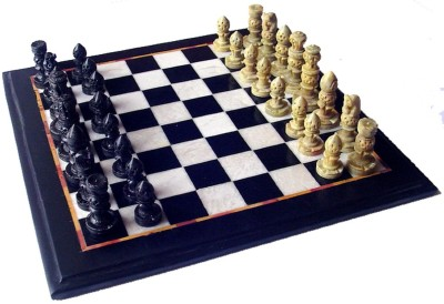 Stonkraft Collectible Black Marble Chess Game Board Set with Hand Carved Stone Pieces Board Game