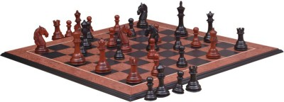 Chessbazaar Columbian Staunton Series Set & Black Anigre Red Ash Burl with Moulded edges 4.5 inch Chess Board