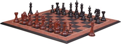 Chessbazaar Shera Luxury Series Set & Black Anigre Red Ash Burl with Moulded edges 4.5 inch Chess Board