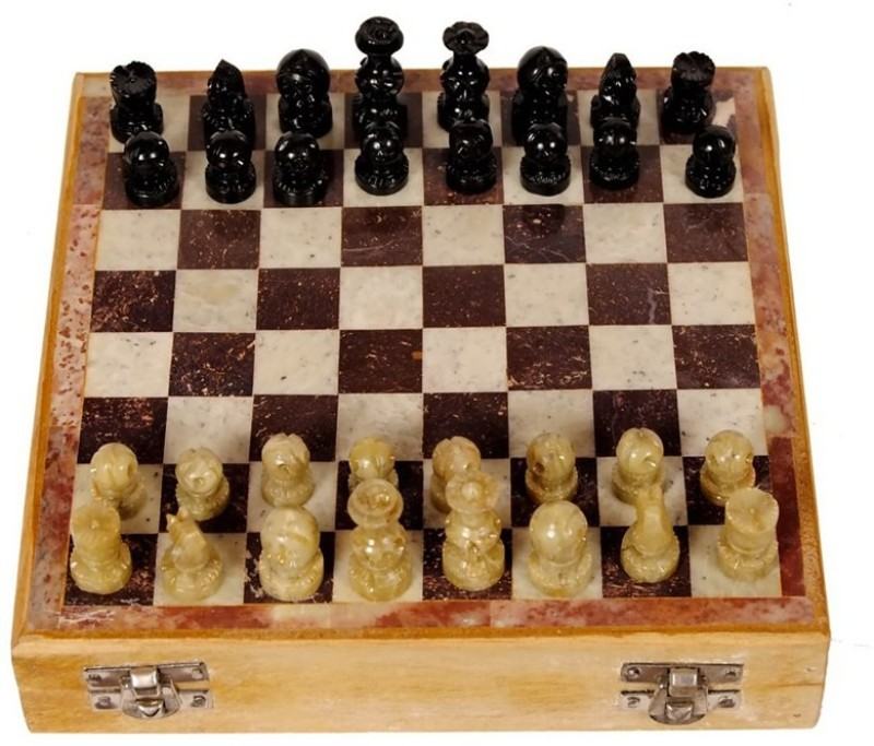 Pooja Creation Marble Shatranj Made To Pure Stone Of Makrana Marble 10 inch Chess Board(White)