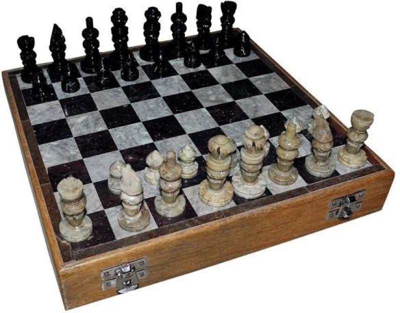 Radhey 15 Cm Of Of Pure Makrana Marble Alabaster 6 inch Chess Board(White)