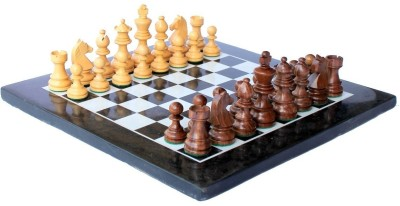 StonKraft Collectible Marble Chess Set with Hand Carved Wood Pieces 12 inch Chess Board
