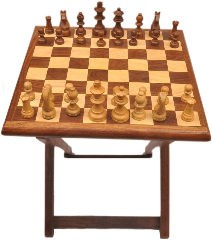 Artist Haat Chess Table With Sheesham Wood 30 cm Chess Board(Brown)