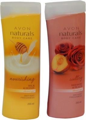 Avon Naturals Body Care Nourishing & Suttary Shower Gel (Set of 2)(400 ml)