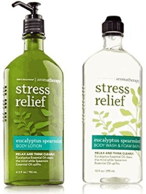 Bath & Body Works Body Works Aromatherapy Stress Relief Eucalyptus Spearmint & Foam Bath and 65 Body Lotion Bundle Eucalyptus Spearmint