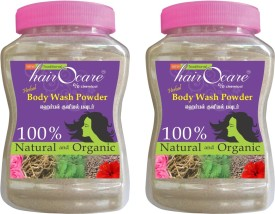 Hairocare Herbal Body Wash Powder - Vetiver and Panneer Rose Flavour - Alternative for Soaps - Pack of 2 x 175g(350 g)