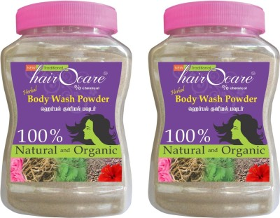 hairocare Herbal Body Wash Powder - Vetiver and Panneer Rose Flavour - Alternative for Soaps - Pack of 2 x 175g