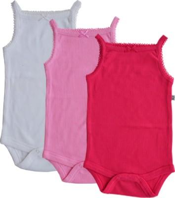 Babeez World Baby Girl's White/Lite pink/Pink Bodysuit