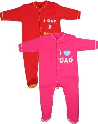 Gkidz Baby Boy's Red, Pink Sleepsuit